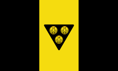 "proposed Pittsburgh city flag by ""Goob"", with gold eagle-fronted coins on black triangle on existing black/gold/black tri-colored background"