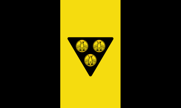 """proposed Pittsburgh city flag by """"Goob"""", with gold eagle-fronted coins on black triangle on existing black/gold/black tri-colored background"""