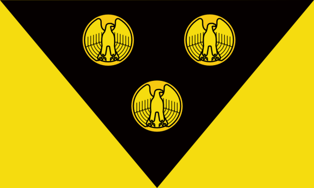 """proposed Pittsburgh city flag by """"Goob"""", with gold eagle-fronted coins on black triangle on gold field"""