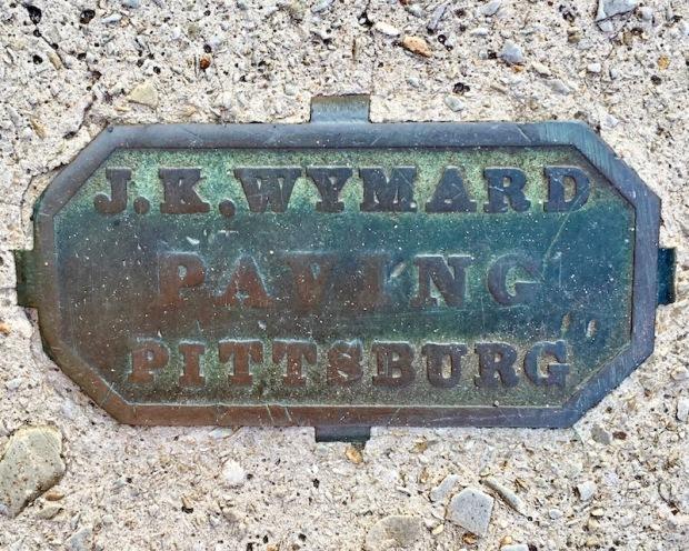 brass sidewalk plaque for J.K. Wymard, Pittsburgh, PA