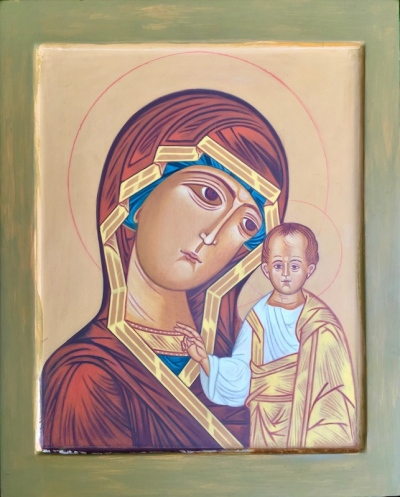 in-process icon of St. Kazanskya by Simeon Larivonovoff