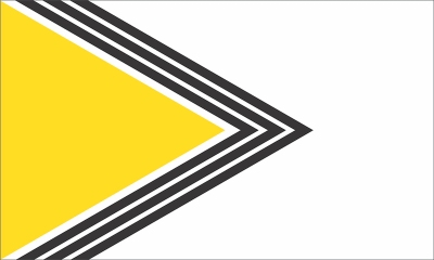 proposed Pittsburgh city flag by Ian Finch of military-looking gold triangle and angled black stripes