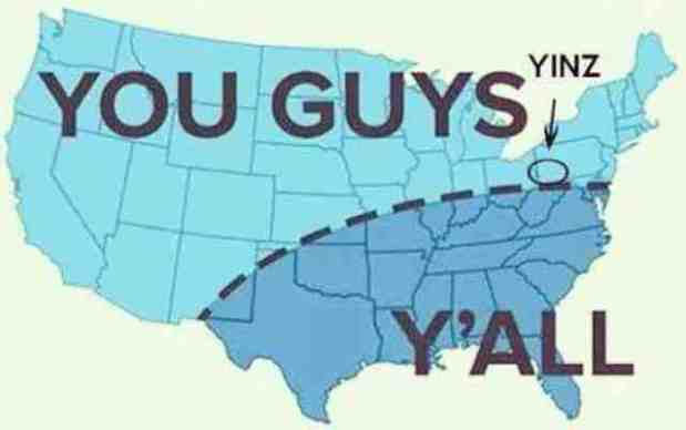 "map of America depicting use of ""you guys"", ""y'all"", and ""yinz"""