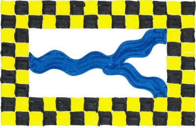 design sugestion for new Pittsburgh flag by Ray Strobel with blue wavy river lines