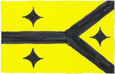 design sugestion for new Pittsburgh flag by Ray Strobel with black lines to represent the three rivers and three black hypcycloids on a gold field
