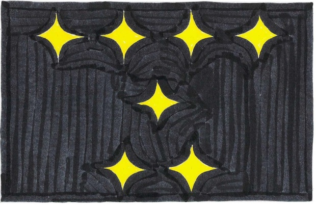 design sugestion for new Pittsburgh flag by Ray Strobel with seven gold hypocycloids in rows of four/one/two on a black field
