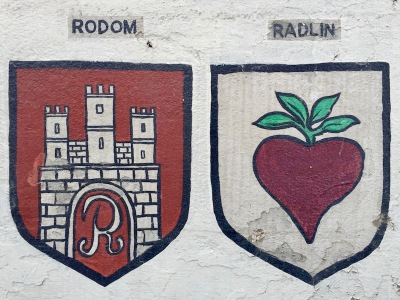 coats of arms for Rodom and Radlin painted as murals on parking lot wall, Bloomfield Bridge Tavern, Pittsburgh, PA