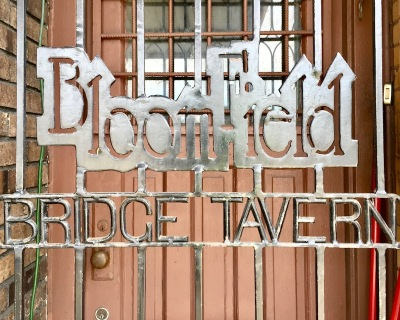 gated front door for the Bloomfield Bridge Tavern, Pittsburgh, PA