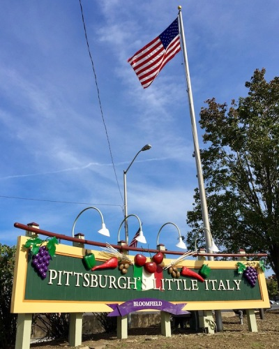 "neighborhood sign for Bloomfield, ""Pittsburgh's Little Italy"""