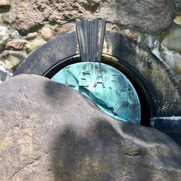 large stone blocking entry to mausoleum entry, Beaver Cemetery, Beaver, PA