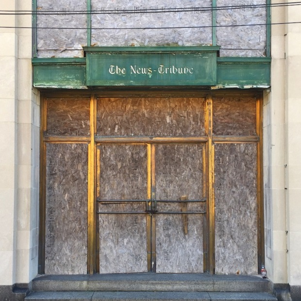 entrance to the former News-Tribune office, Beaver Falls, PA