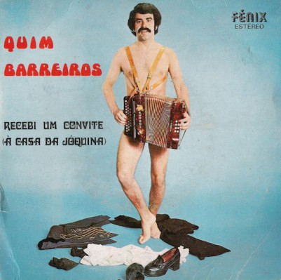 """album cover for Quim Barreiros """"Recebi um Convite"""" with a naked man holding an accordion over his private parts"""