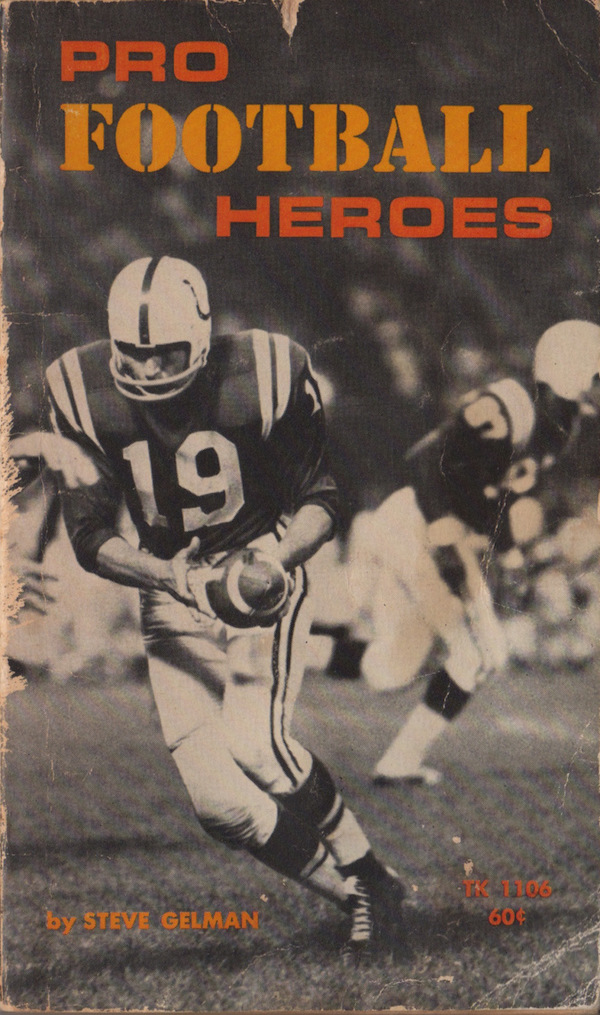 "book cover for ""Pro Football Heroes"" by Steve Gelman"