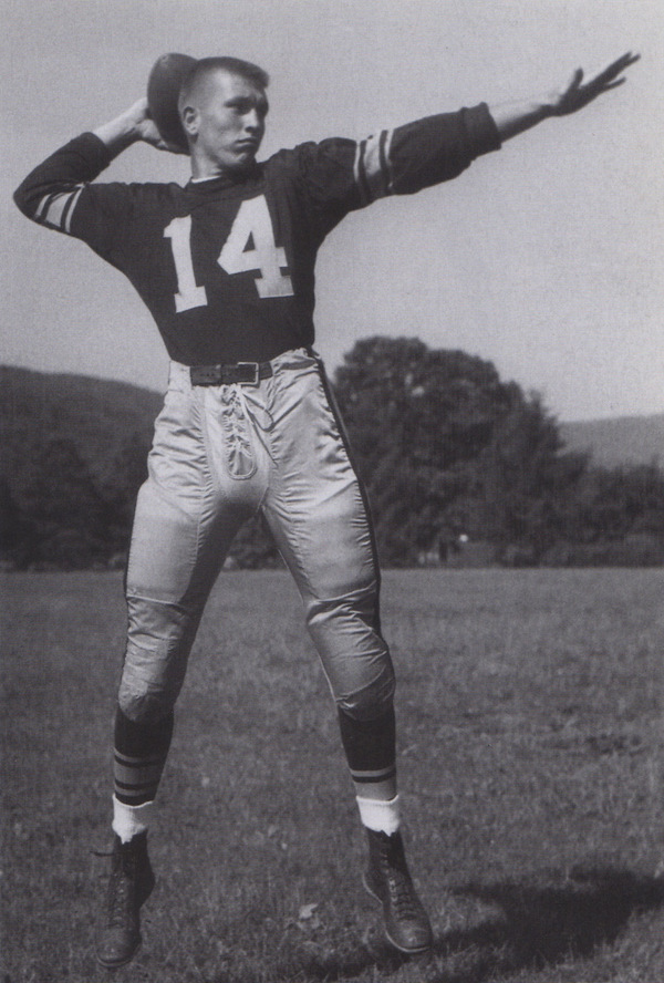 Johnny Unitas at Steelers training camp in a uniform he never got to wear on the field.
