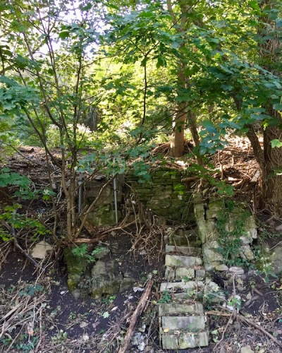 stone steps and house foundation on hillside in Pittsburgh, PA