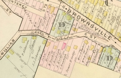 detail of William Street from a 1901 map showing many former houses on the south and east sides of the street