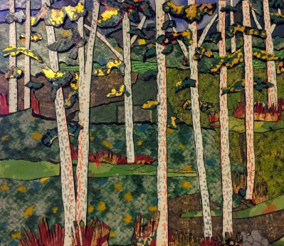 artwork of forest scene featuring birch trees made from cut linoleum by artist Bill Miller