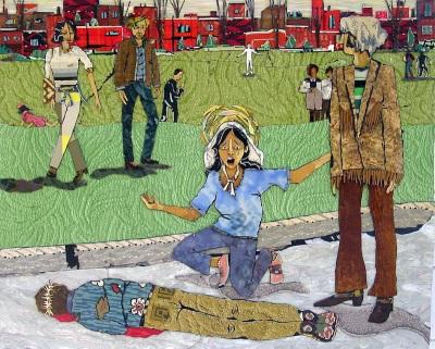 linoleum assemblage artwork representing Kent State massacre, 1970 by artist Bill Miller