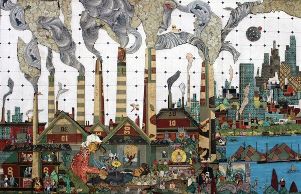 linoleum collage artwork depicting a steel mill with city in the distance by Bill Miller