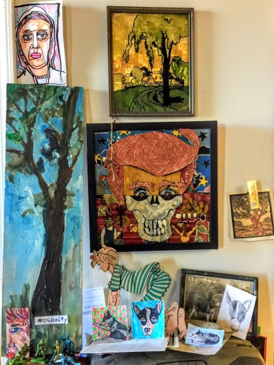collection of small artworks on Bill Miller's studio wall, Pittsburgh, PA