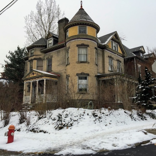 large Queen Anne-style house with snow-covered sidewalks, Pittsburgh, PA
