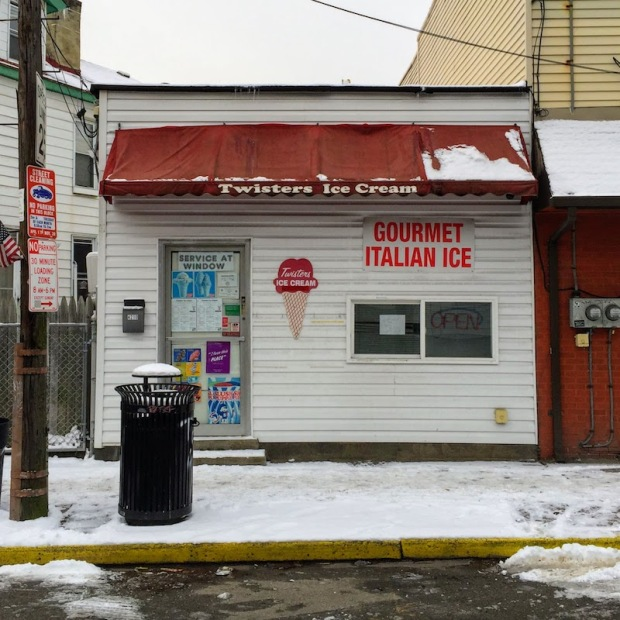 Twisters Ice Cream shop with snow-covered sidewalk, Pittsburgh, PA