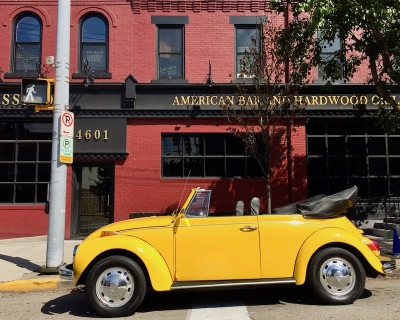 convertible Volkswagen Beetle painted gold, Pittsburgh, PA