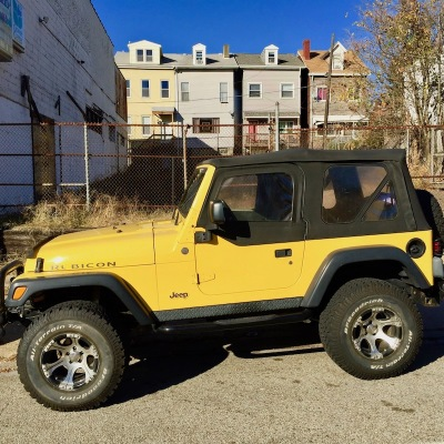 Jeep painted gold with black convertible top, Pittsburgh, PA