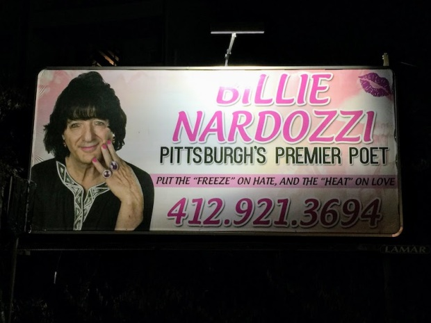 """billboard with Billie Nardozzi's photo and the text """"Put the 'freeze' on hate, and the 'heat' on love,"""" Pittsburgh, PA"""