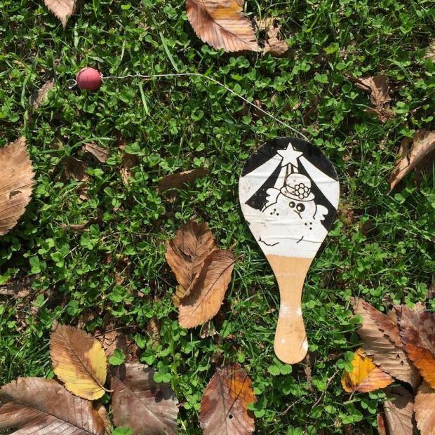 paddle ball laying in grass with fall leaves, Millvale, PA