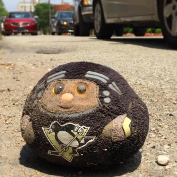 Pittsburgh Penguins hockey toy on street