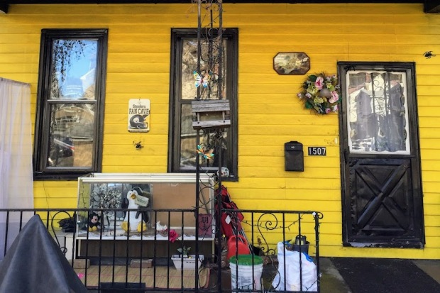 house front painted Steelers gold with black trim, Sharpsburg, PA