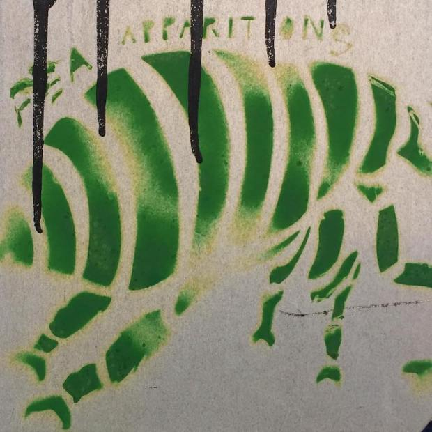 stencil image of a flea painted to the back of a street sign, Pittsburgh, PA