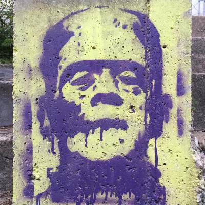 stencil image of Frankenstein's monster painted on concrete wall, Pittsburgh, PA