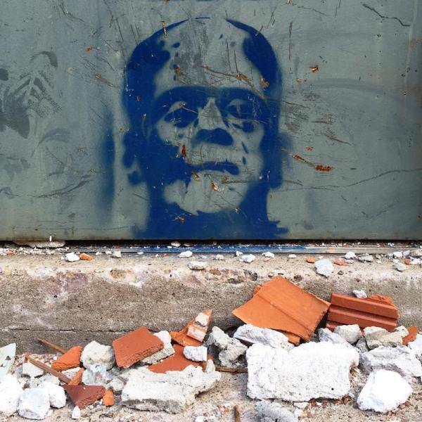 stencil image of Frankenstein's monster painted on steel door, Pittsburgh, PA