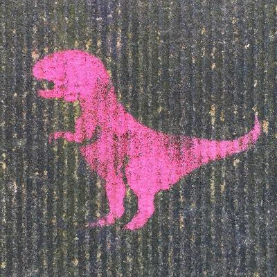 stencil image of pink tyrannosaurus rex painted on concrete wall, Pittsburgh, PA