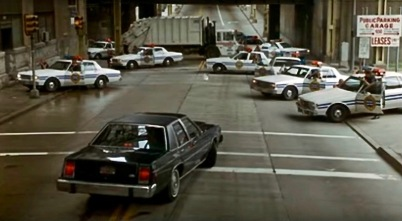 "scene from the film ""Striking Distance"" of police car standoff in Pittsburgh, PA"