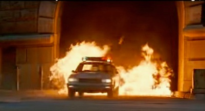"scene from the film ""Striking Distance"" of police car exiting fire-filled tunnel in Pittsburgh, PA"