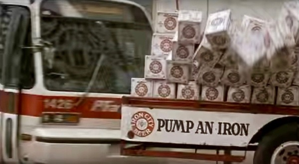 """scene from the film """"Striking Distance"""" of a city bus colliding with a beer truck"""