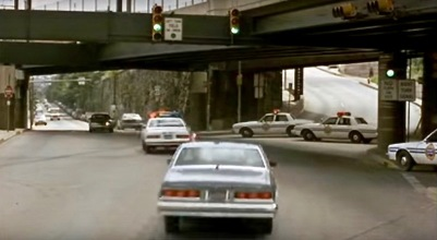 "scene from the film ""Striking Distance"" of city streets in Pittsburgh, PA"