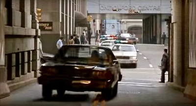 "scene from the film ""Striking Distance"" of downtown street in Pittsburgh, PA"