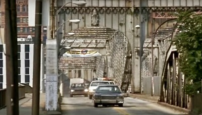 "scene from the film ""Striking Distance"" of Smithfield Street Bridge in Pittsburgh, PA"