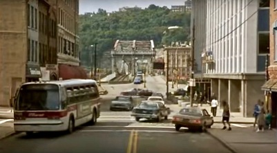"scene from the film ""Striking Distance"" of downtown street and bridge in Pittsburgh, PA"