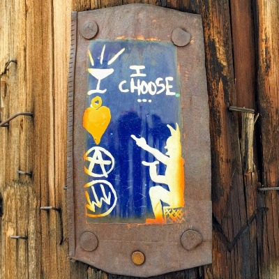 "small painting on steel can of devil with the text ""I choose..."", Pittsburgh, PA"