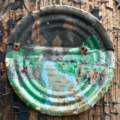 painting on steel can lid of night landscape, Pittsburgh, PA