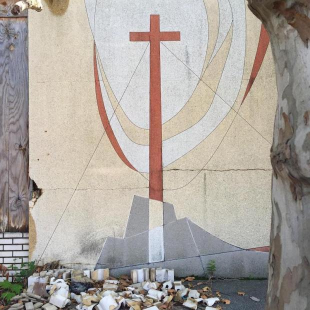 tiled wall with cross and mountain, Pittsburgh, PA