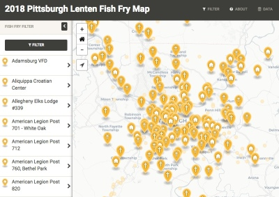 screen capture of Code for Pittsburgh's interactive fish fry map