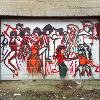 garage door painted with crowd of people, Pittsburgh, PA