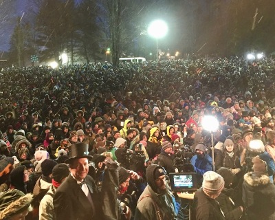 large crowd assembled at Gobbler's Knob for Groundhog Day, 2018
