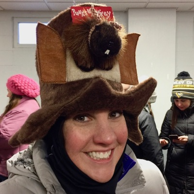 woman with groundhog hat